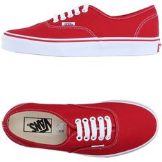 Vans Sneakers ($67) ❤ liked on Polyvore featuring shoes, sneakers, vans, red, round toe shoes, red sneakers, vans sneakers, red shoes and vans shoes