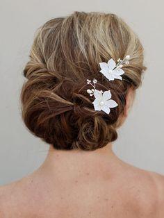 beaded bridal flower hair pins