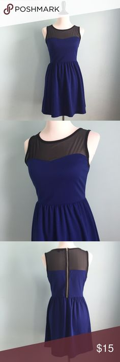 Royal Blue Sweetheart Dress Royal blue dress with sweetheart neckline and black mesh over the shoulders and back. Size large by forever 21. Please note that there is some pilling on parts of the blue. Forever 21 Dresses