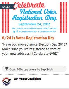 Help us spread the word about #NVRD by having your FB, Twitter and Tumblr accounts post a message that day reminding everyone you know to register to vote!