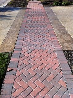 Brick paver walkway. Great way to spruce up your sidewalk! #patio #patiolife #outdoorliving #hinklehardscapes #pavers