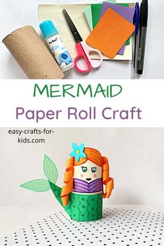 Mermaid Toilet Paper Roll Craft for Kids Summer Crafts For Kids, Crafts For Kids To Make, Crafts For Girls, Craft Activities For Kids, Kids Crafts, Craft Kids, Kids Diy, Toilet Paper Roll Crafts, Cardboard Crafts