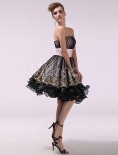 Black Strapless Sleeveless Pleated A-line Organza Prom Dress - Milanoo.com