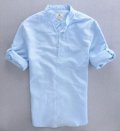 Quality Men's Casual Shirt 2015 Summer Natural Linen Cotton Blend Popover Shirt Male Stand Collar Chinese Style Tops Long Sleeve Camisas with free worldwide shipping on AliExpress Mobile White Shirt Men, Navy Blue T Shirt, White Shirts For Men, Indian Men Fashion, Men's Fashion, Best Fashion For Men, Fashion Trends, Mens Linen Outfits, Estilo Tomboy