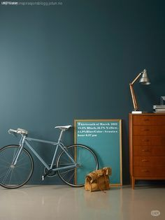 Blue with a hint of green. Dark Painted Walls, Oslo, Wall Colors, Desk Lamp, Pure Products, Bedroom, Lady, Green, Blue
