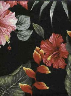 10anea Tropical Hawaiian non-upholstery barkcloth, heliconia & hibiscus flowers.Add Discount code: (Pin10) in comment box at check out for 10% off sub total at BarkclothHawaii.com