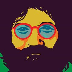 Portrait of musician counterculture icon member of the Grateful Dead and inspiration for an ice cream flavor Jerry Garcia #people #portrait #illustration #jerrygarcia #gratefuldead #musician  #icon