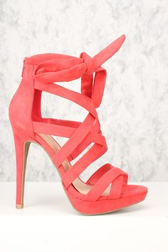 7990b63bb5a6 Sexy Hot Coral Open Toe Strappy High Heels Faux Suede