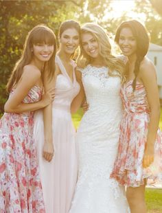 Pink Illusion V Neck A-line Tulle Long Bridesmaid Dress  £119.99