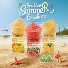 Chatime has introduced these 3 new flavours: Banana Mango Summer Watermelon Lychee Fruitea Green Tea Lemonade with Aiyu All priced at Not valid at Food Graphic Design, Food Menu Design, Food Poster Design, Green Tea Lemonade, Social Design, Food Banner, Bubble Tea, New Flavour, Milk Tea
