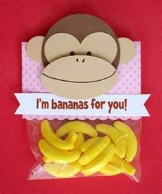"Parent Tie-in: Monkey Party Favor - Plastic Bag - Monkey Cut-outs (construction paper) - Stapler - Scrapbook Paper (for toppers) - ""I'm bananas for you!"" print-out"