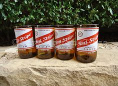 Red Stripe Beer Bottle Glasses  Set of 4 by ConversationGlass