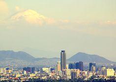Popocatepetl Volcano & Mexico City Skyline from La Cuspide