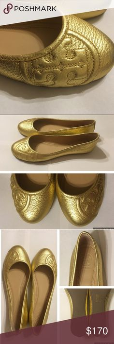 """NIB Tory Burch Gold Flats (Style:Ruby) 8 NIB TORY BURCH GOLD """"RUBY"""" FLATS. Tumbled Leather with a round toe. Size 8. Color: Gold. Raised off the center embossed type logo. Perfect for the spring! Super cute timeless shoe. New in box with no signs of wear or flaws. Come with dust bag also. Enjoy! ❤ Tory Burch Shoes Flats & Loafers"""