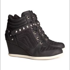 H&M Stud Wedge Sneakers Awesome and incredibly comfortable wedge sneakers. Heel height 3 1/4 inches. Great condition, only worn a few times. H&M Shoes Sneakers