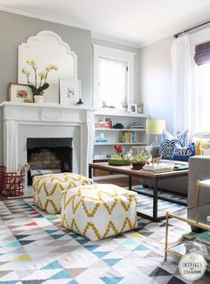 A Colorful Living Room Packed With Color, Pattern, And Personality. Via  Inspired By Charm   I Like The Poufs  Would Look Great In My Family Room  Wall  ...