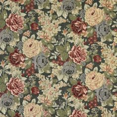 """54"""" Wide F925 Blue, Red And Green, Floral Tapestry Upholstery Fabric By The Yard Discounted Designer Fabrics,http://www.amazon.com/dp/B00C3OOAB6/ref=cm_sw_r_pi_dp_I0qXsb1MGDGDGHRB"""