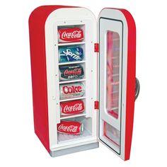 Coca Cola Retro Vending Fridge 10 Can Cooler Man Cave Coke Can Mini Soda Compact…