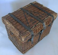 Antique Rattan & Cast Iron Trunk c 1920. Great combination of industrial and natural materials