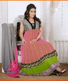 Color: Pink Green,Gray Collection: Rashmi Top Fabric: Faux Georgette Bottom Fabric: Santoon Dupatta Fabric: Nazneen Inner : Santoon Sleeve:Half/Full Work: Embroidery Season:Any Size: 36 to 40. Weight: 1 k.g Style: Readymade Anarkali Suits Occasion: Traditional Wear, Causal wear,Ethnic wear,All Festival,Party wear Time to Ship:Ready To Ship