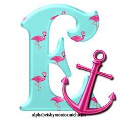 Alphabet Style, Monogram Alphabet, Dragon Ball, Pink Flamingos, Anchor, Miami, Icons, Party Ideas, Printables
