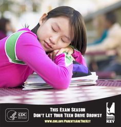 Young drivers are at a high risk for drowsy driving, which causes thousands of crashes every year. Be sure your teen is fully rested before he or she gets behind the wheel. | Parents Are the Key to Safe Teen Driving | CDC Injury Center