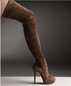 ~~Hottnes!!!  Brown  Christian Louboutin Suede Over-The-Knee Platform Boot~~