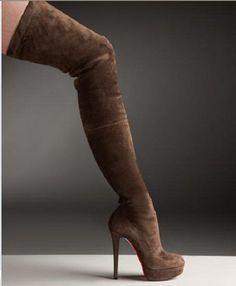 ~~Hottnes!!!  Brown  Christian Louboutin Suede Over-The-Knee Platform Boot~~
