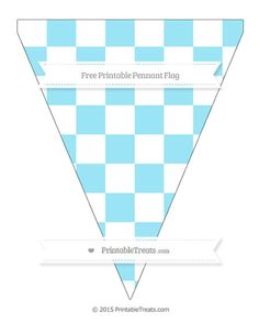 Free Pastel Aqua Blue Checker Pattern  Simple Pennant Flag