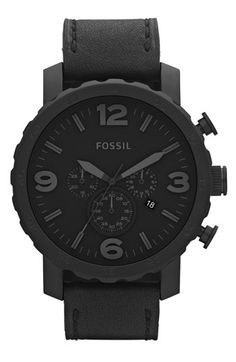 Free shipping and returns on Fossil 'Nate IP' Chronograph Watch, 50mm at Nordstrom.com. A notched bezel defines the round case of a matte-black chronograph watch paired with a smooth leather strap.