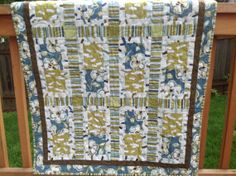 Modern Blue Flowered Crib Quilt