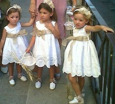 really cute for little flower girl/s not too grown up look - just perfect for the flower girl Little Girl Dresses, Girls Dresses, Flower Girl Dresses, Flower Girls, Baby Couture, Wedding With Kids, Wedding Groom, Rustic Wedding, Kind Mode