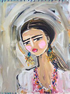 Pintura de Frida Kahlo retrato bonito rosas por DevinePaintings