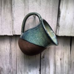 Blue glazed chocolate brownstone mug by KirkwoodClay on Etsy, $24.00
