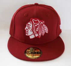 Chicago Blackhawks New Era 59Fifty Cardinal Red Size 7 Fitted Cap NHL New  8d4b21a4c9a