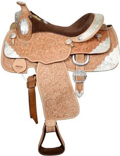 "Saddles Tack Horse Supplies - ChickSaddlery.com Double T 16"" Fully Tooled Show Saddle With Suede Seat"