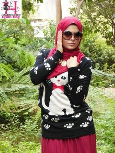 Sweater and cardigan hijab outfit | Just Trendy Girls