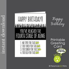Printable Birthday Mature Card Funny Friend Over The