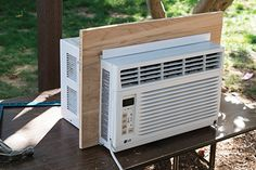 By Larry Walton, photos by Mark Walton We don't get much heat or humidity where we live but when w. Garage Air Conditioner, Air Conditioner Cover Indoor, Window Air Conditioner Installation, Air Conditioner Bracket, Window Ac Cover, Window Ac Unit, Ac Units, Outdoor Living, Windows