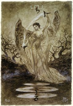 Temperance from the marvellous Labyrinth Tarot of Luis Royo