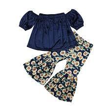 cd01364fff7 Lahyra 2PCS Baby Girl Off Shoulder Tube Top Shirt+Ruffle Floral Pants  Casual Clothing