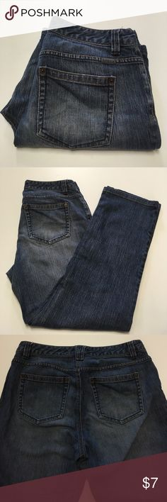 """Liz Claiborne Slim Bootcut Jeans 10 Regular These have a few pen marks and white paint spot on one leg. These are tagged size 10R. Waist measures 33"""" inches. Rise 10"""" inches. Inseam 29.5"""" inches. From waist to hem down side is 40"""" inches. Great jeans to work around the house in. No holes. Liz Claiborne Jeans Boot Cut"""