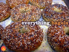 Everything Bagels: Chewy, crispy bagels with a topping of garlic, onion, poppy seed, sesame seed and coarse salt! Perfect toasted and spread with cream cheese.