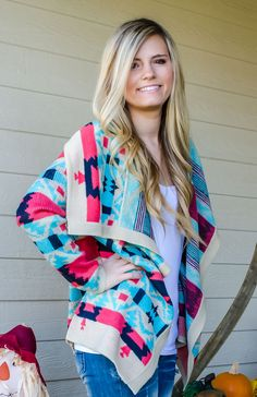 Emily Maynard from the Bachelorette made this cardigan famous, but who's to say you can't make it famous too!! This high quality, soft, comfy, aztec sweater cardigan has colors of mint, navy, coral, a