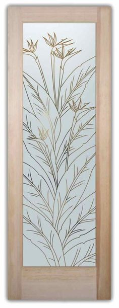 Front door with Glass – Bird of Paradise Pinstripe
