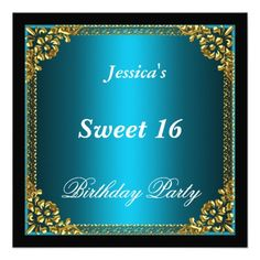 Blue Gold and Black Sweet 16 Birthday Party Personalized Announcement