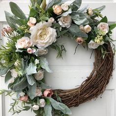 Get your home ready for the upcoming Spring season! Visit my shop TheWispyTwig for this beautiful wreath and many more! Wreath Crafts, Diy Wreath, Grapevine Wreath, Tulle Wreath, Burlap Wreaths, Christmas Mesh Wreaths, Easter Wreaths, Prim Christmas, Christmas Deco