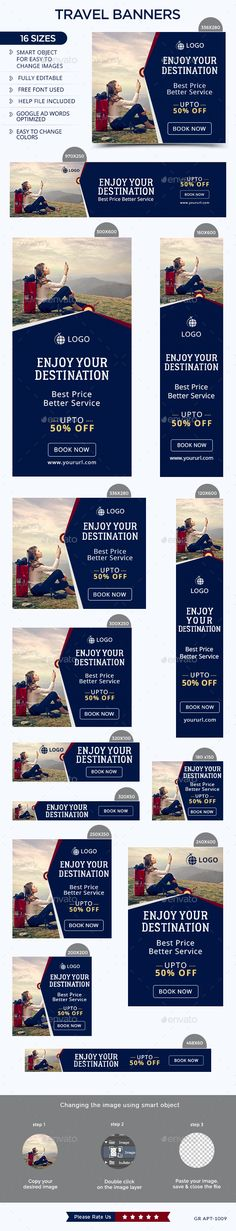 Travel Web Banners Template PSD #design Download: http://graphicriver.net/item/travel-banners/13876947?ref=ksioks