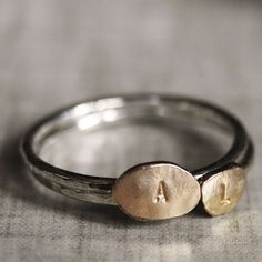 Personalized 14k gold filled and Sterling Silver hand stamped stackable Love Letter ring - Made to Order. $65.00, via Etsy.