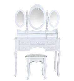 outsunny - specchiera tavolo cosmetici mobile da trucco sgabello ... - Toilette Provenzale Con Specchio E Sgabello